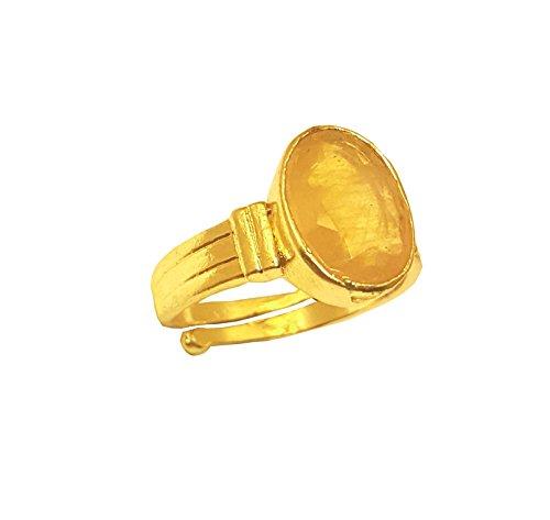 RS JEWELLERS Gemstones 5.36 Ratti Natural Certified Yellow Sapphire Pukhraj Gemstone Panchdhatu Ring ,Pukhraj Birthstone Astrology Ring