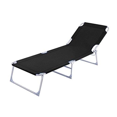 MCTECH® Klappbar Strandliege Freizeitliege Gartenliege Sonnenliege Schaukelliege Campingliege Regiestuhl, 188 x 58 x 24 cm (Schwarz)