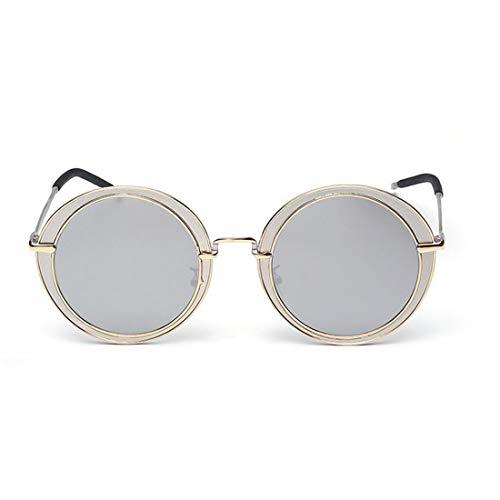 Yiph-Sunglass Sonnenbrillen Mode Unisex-Erwachsene Steampunk Runde Form Metallic Frame UV-Schutz Sonnenbrillen (Farbe : Silver)