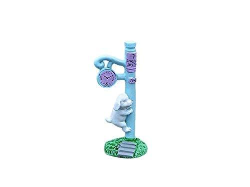 FUWUX Garden Ornamente DIY Garten dekor Hause anlage Miniatur Micro Landschaft welpen Klettern Uhr (blau)