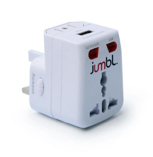 JumblTM Universal weltweiter internationaler Wechselstrom Reiseadapter mit USB-Anschluss