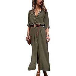 Mujer Vestidos Largos Casual Camiseros Manga Larga Botón Lateral De Hendidura Vestido De Fiesta Verde XL