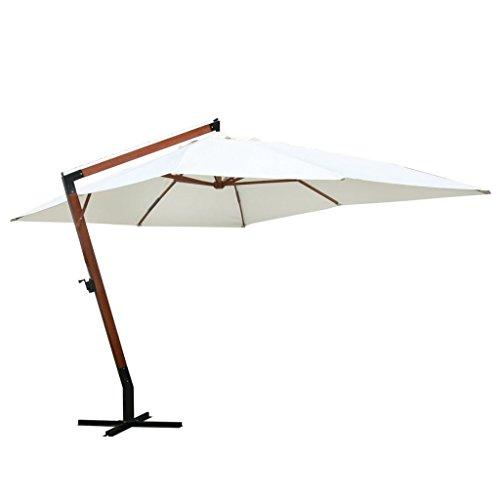 Tidyard ombrellone da giardino in legno con braccio laterale 3,0 x 4,0 m. bianco