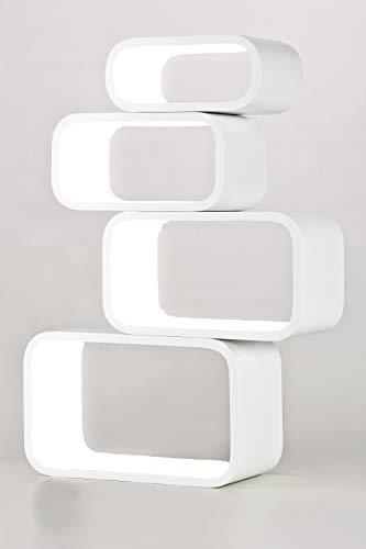 decodelic 4er Set Lounge Regal Cube Retro Style Wandregal (Innen weiß)