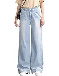 39edea8c18328 BIRAN Mesdames sans Étirement Jeans Évasés À Élégant Jambe Large breal  Casual Denim Droit Denim Kick