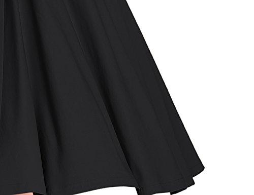 MUXXN robe cocktail femme des 1960 au col V et manche courte Black