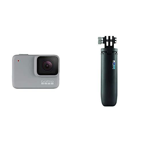 GoPro HERO7 White - Cámara de acción digital sumergible con pantalla táctil, vídeo HD 1440p y fotos de 10 MP, blanco + Vara de extensión en miniatura y trípode, Negro