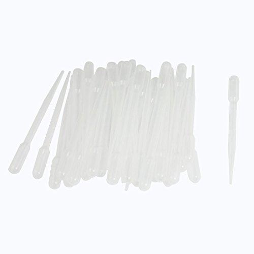 50pcs CLEAR WHITE PLASTIC 13,5cm Liquid Dropper Pasteur Pipette 2ml