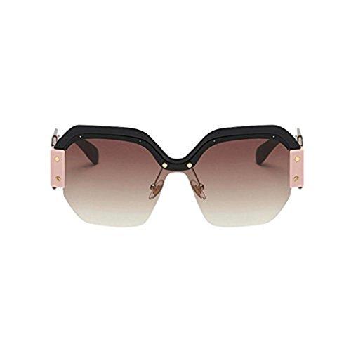 Damen und Herren Brille Rosennie Ladies Fashion Retro Große Rahmen Sunglasses Frauen Vintage Sonnenbrille Retro Big Frame UV400 Schutz Brillen Mode Kat-Eye Halbrahmen Ultra Leicht Eyewear (B)