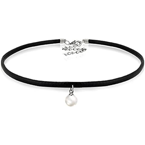 Pearl Choker Collar Necklaces With Pendant Charm Black Leather Delicate Fashion Jewelry For Women