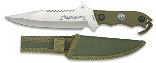 Cuchillo Horizon Satin Hoja 18 cm para Caza, Pesca, Camping, Outdoor, Supervivencia y Bushcraft Albainox 32104 + Portabotellas de regalo