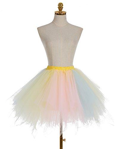 Dresstells Damen Tutu Unterkleid Kurz Ballett Tanzkleid Ballklei Abendkleid Gelegenheit Zubehör Champagne-Light Pink