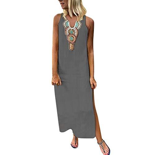 Ärmelloses v-Ausschnitt Maxi Kleid, Sommer Mode Side Split Baggy Kaftan Langes Strandkleid, Bequem Leinenkleid Blusenkleid(Grau,L) ()