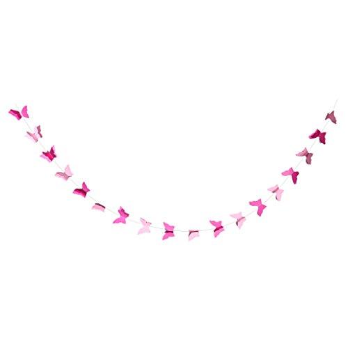 MagiDeal Guirlande Décorative à Fanion Papillon Déco Suspendu pour Fête Anniversaire - Rose