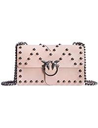PINKO PELLETTERIA Pinko Love Bag Rosa con Perle Acciaio 79d61e46020