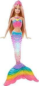 Barbie Dreamtopia poupée sirène Arc-en-ciel blonde Couleurs et Lumières à plonger dans l'eau, avec piles incluses, jouet pour enfant, DHC40