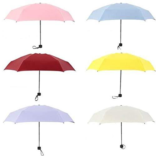 Junio1 Sombrilla portátil de Cinco Plegables Protección contra la Lluvia Protección UV Sombrilla de Pegamento Negro Plegables