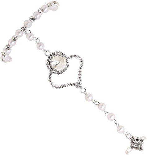 Sanjog Silver Rhinestone Chain Bracelet Ring For Girls