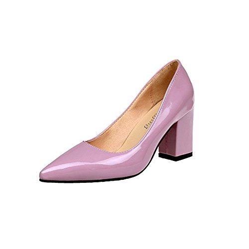 FeiBeauty Damenmode quadratische Ferse Schuhe Spitze Zehe flach Volltonfarbe Geschäft Pumps Lederschuhe Schwarz Rosa rot Wein Weiß