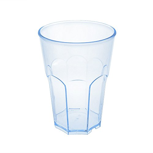 Verre à cocktail en plastique dur de doimo Flair Rocks 35 cl Transparent une tasse en plastique rigide poli Carbonate Set 10 stk. empilable partygeschir bruchfestes Lave-vaisselle Caipirinha Verre long drink Whisky Verres. Transparent mit Blauen Reflexion