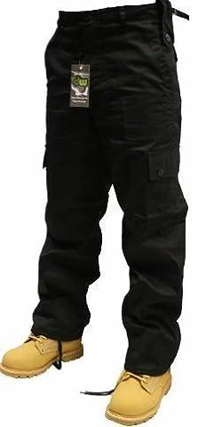Adultes Noir Armée Combats Pantalon Militaire Tailles W30