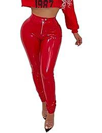 Pantalon de Cuero Skinny Leotardos Mujeres Invierno Grueso PU Leggings con Cálido Forrado Mujer Sexy Talle