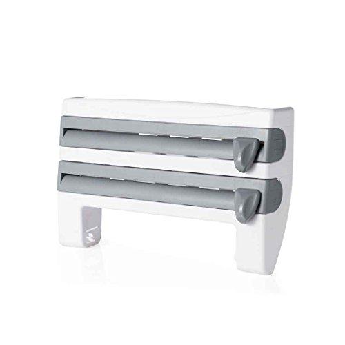 Preisvergleich Produktbild QHGstore Wandmontierte Küche Cling Film Sauce Flasche Lagerung Rack Papier Handtuchhalter mit Cutter grau