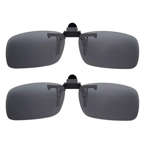 BOZEVON Clip auf Sonnenbrillen - Herren/Damen Flip-Up Polarisierende Sonnenbrillen Nachtsichtgläser Fit Over Brillenträger für Autofahren und Außenbereich, 2 * Grau - S