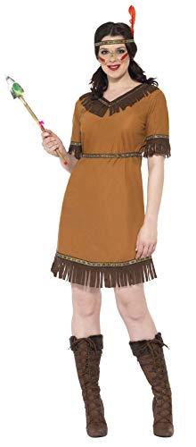 Indianische Frau Kostüm Braun mit Kleid Gürtel und Stirnband      , Large