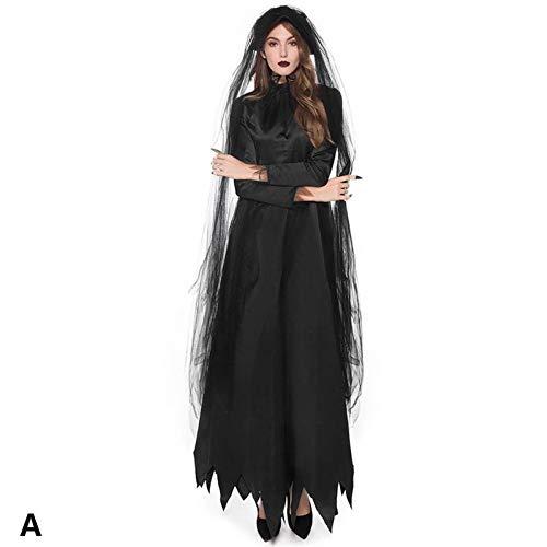 ERFD&GRF Cosplay Kostüm Horror Weibliche Geisterbraut Dark Vampire Hexe Halloween Bühnenkostüm Schwarz Uniform Spitze Partykleid, - Weibliche Kostüm Horror