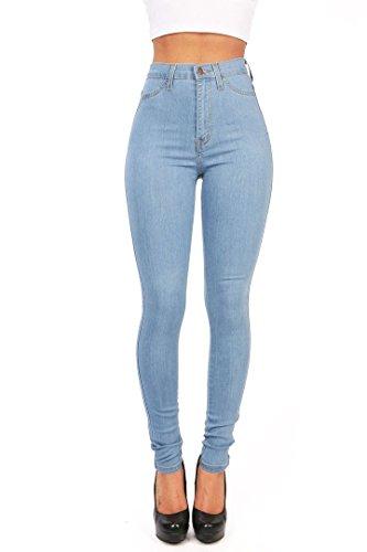 Gemijacka Damen High Waist Skinny Dünn Jeans (Blau, M: 38-40)