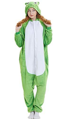 ABYED® Kostüm Jumpsuit Onesie Tier Fasching Karneval Halloween kostüm Erwachsene Unisex Cosplay Schlafanzug- Größe XL -for Höhe 175-181CM, Frosch