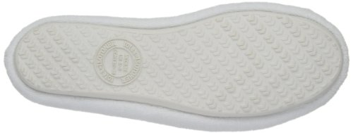 Isotoner  Double Bow Terry Ballet Slippers,  Damen Hausschuhe White/Pink Spot Bow