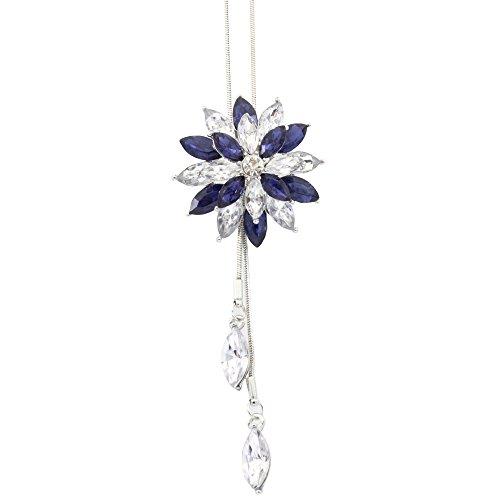 SUPPLYMY Lotus Doppel Kristall Blume Pullover Kette Lange Joker Halskette Kette Ornament Anhänger Frauen Einfache Schmuck Kristall Halskette Laute Elements Crystal Schmuck Geschenk (Blume Floß)