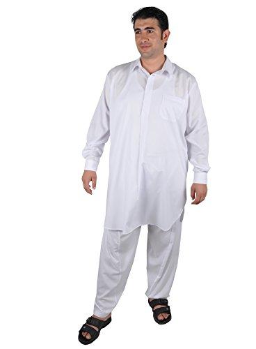 Egypt Bazar Zweiteiliges Herren-Salwar-Kameez- Set im Pakistani-Stil, Farbe: weiß (60-62 (2XL)) -