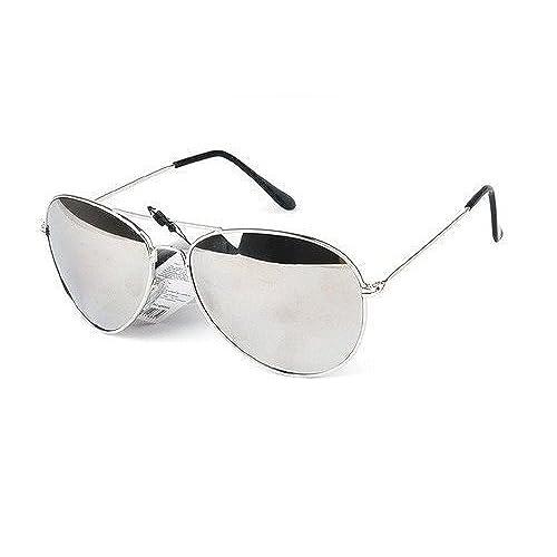 Nykkola - Lunettes de soleil en forme d'œil de chat, classiques, à monture double - Verres miroir colorés - Protection UV400, gold frame and silver lens
