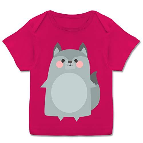 Karneval und Fasching Baby - Fasching Kostüm Wolf - 68-74 (9 Monate) - Fuchsia - E110B - Kurzarm Baby-Shirt für Jungen und Mädchen (Tron Kostüm Mädchen)