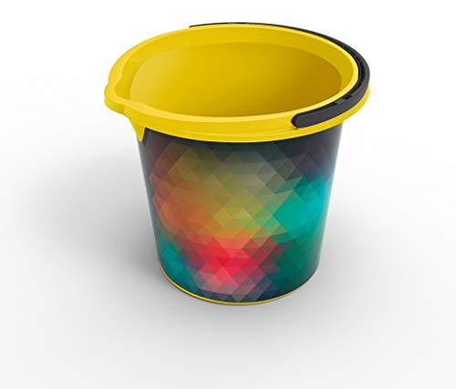 Rotho Vario Art Eimer 10 l, Kunststoff (PP), gelb mit Motiv