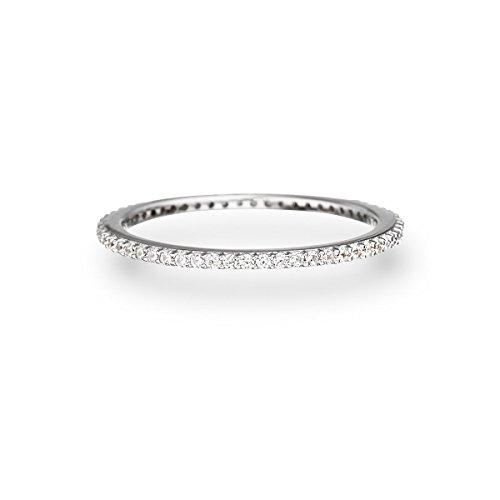 Glanzstücke München Damen-Ring Sterling Silber Zirkonia weiß - Memory Ring Stapel-Ring filigran, Silber Gr. 56 (17.8)