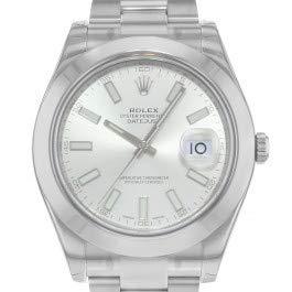 Rolex Edelstahl Automatisch Datejust Silber Herren Uhr Stahl Zifferblatt II