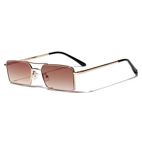 FEYGB Sonnenbrillen Quadratische Sonnenbrille Frauen Retro Männer Sonnenbrille Vintage Gradient Mirrored Metal Frame Glasses, Burgund