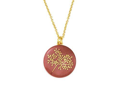 lille mus Halskette mit Porzellan-Anhänger Bäumchen - Bordeaux/Gold Porzellanschmuck Kette - Bordeaux-mini-anhänger