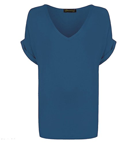 womens-v-neck-top-turn-up-short-sleeve-ladies-baggy-loose-t-shirt-fancy-dress-xxxl-uk-24-26-teal