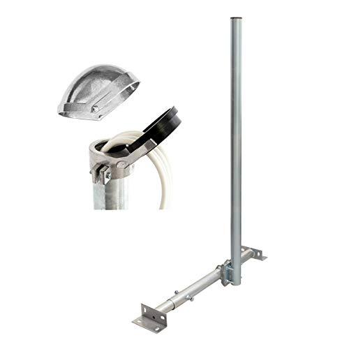 PremiumX Basic X120-48 SAT TV Teleskop-Dachsparrenhalter 120cm Mast 48mm Stahl Sparren-Halterung für Satelliten-Antenne Satellitenschüssel | ALU-Mastkappe Kabeleinführung 16 Kabel - Dach-antenne-tv