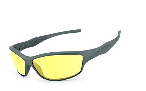 Helly® - No.1 Bikereyes® | H-FLEX®- unzerbrechlich, UV400 Schutzfilter, nachtsicht HLT® Kunststoff-Sicherheitsglas nach DIN EN 166 | Bikerbrille | Brillengestell: grau matt, Brille: fender 2.0