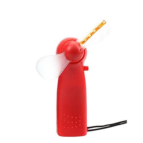 in Lüfter, Mini Handheld Electric Cooling Fan 4 Farbwechsel LED Licht Konzert Requisiten - Rot ()