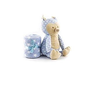 Duffi Baby- Manta Estampada y Peluche, 90 x 75 cm, Color Azul 90X75CM (Master Baby Home, S.L. 4070-12)
