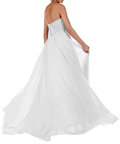 Milano Bride Wunderschoen Herzform Lang Chiffon Brautjungferinkleider Festkleider mit Spitze Applikation Rosa