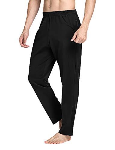 VENI MASEE Männer 100% Baumwolle Reine Farbe super weiche Pyjama Hosen Yoga Hosen - Schwarz - L -