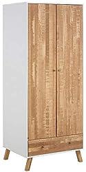 Loft 24 A/S Kleiderschrank Massivholz Holzbeine Garderobenschrank Dielenschrank Nordic Design Modern 2 Türen 1 Schublade 1 Kleiderstange weiß/Natur 75 x 60 x 180 cm